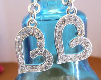 Pretty Rhinestone Heart Dangle Earrings
