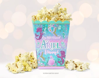 Ariel Favor Boxes,Under the Sea Party,Mermaid Boxes. LITTLE MERMAID TREAT Boxes Custom Princess Ariel Popcorn Boxes Little Mermaid Party