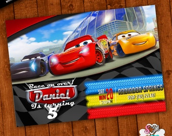 Cars Invitation Customcars 3 PartySuperhero PartyPrintable Race Birthday Card Thank You Free Personalizedcars
