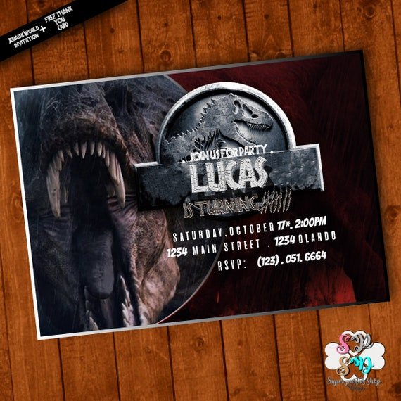 Jurassic World Invitation Printable With Free Thank You Card