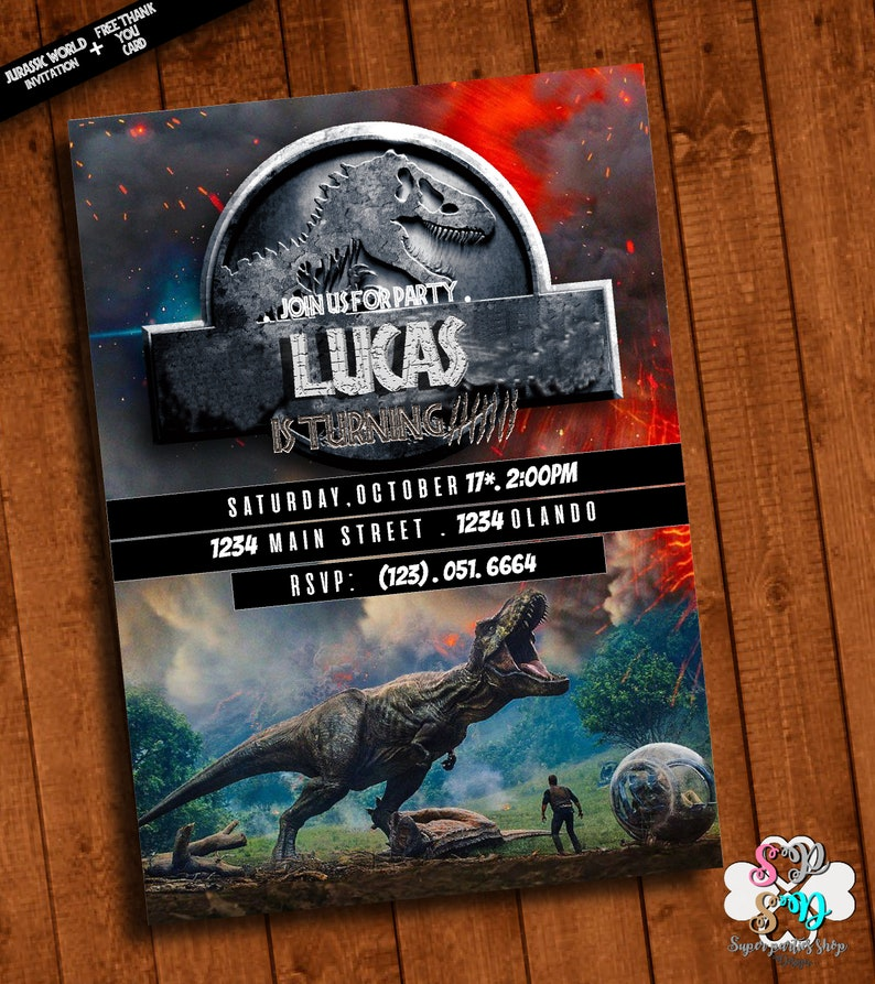 Jurassic Park Invitation Printable With Free Thank You Card