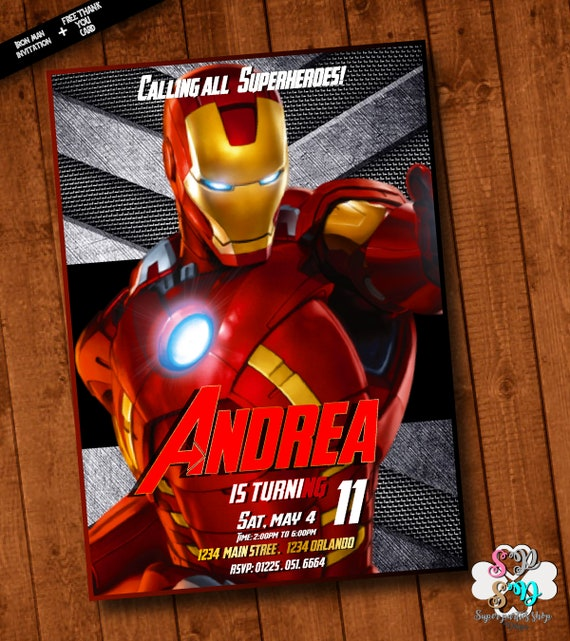 Iron man invitation iron man invite iron man birthday etsy filmwisefo