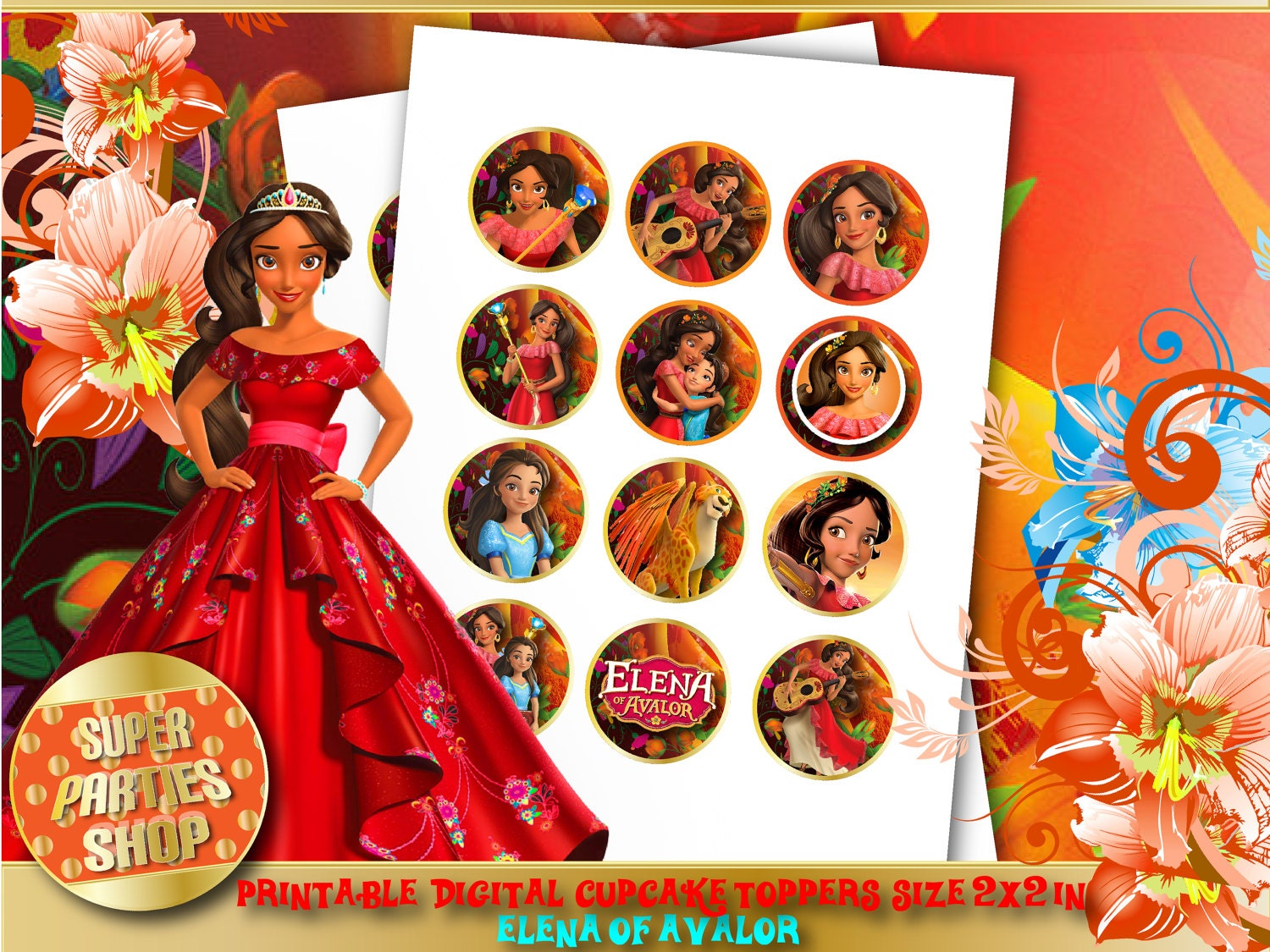 Elena of Avalor Digital Printable Party Cupcake Toppers | Etsy