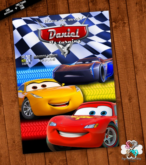 Cars Invitation Customcars 3 PartySuperhero PartyPrintable