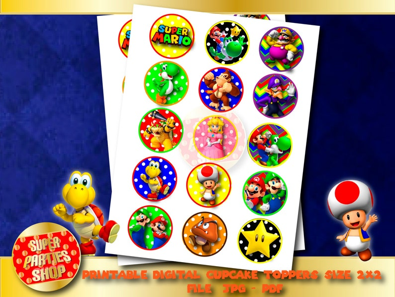 Mario Bros Printable Party Cupcake Toppers Custom Party Etsy