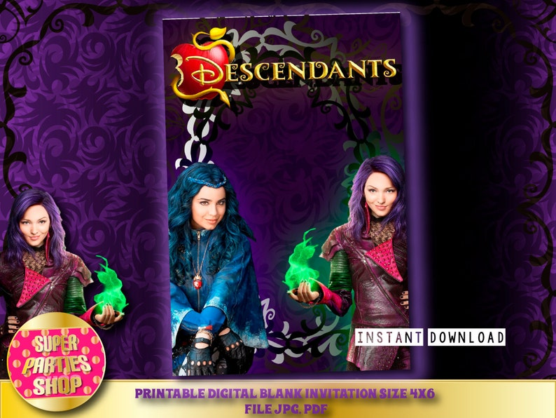 Descendants Digital Printable Party Blank Invitation