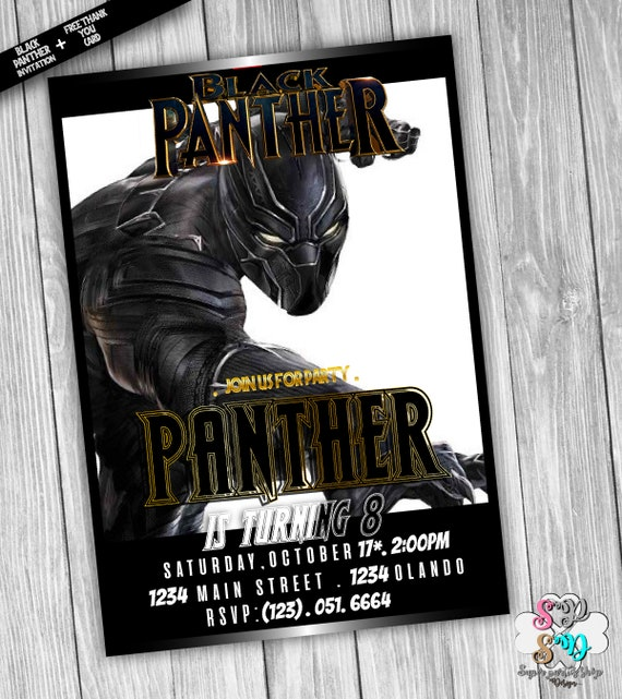 Black Panther Invitation With Free Thank You Card Digital Etsy