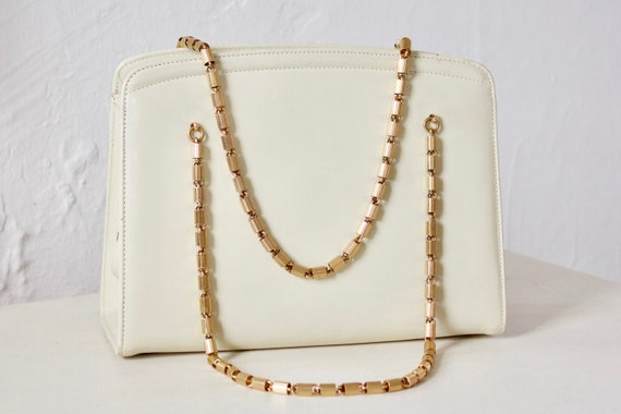 White Ivory Vintage Handbag - Genuine Leather Purs