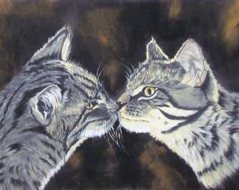 Love cats - animal painting - animal art in pastel