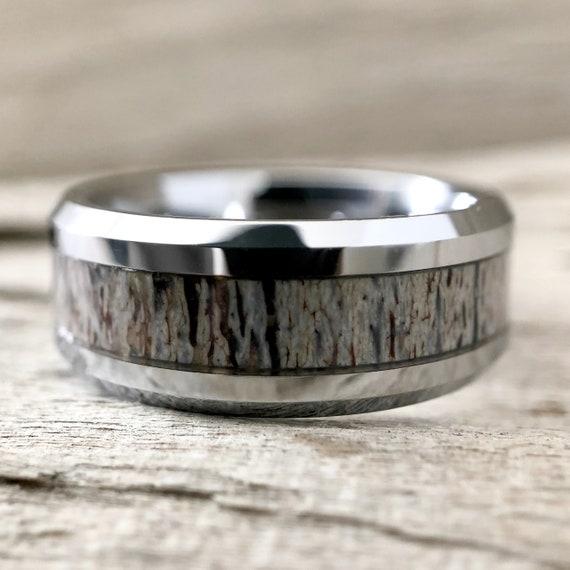 Men S Deer Antler Ring Tungsten Wedding Band Silver 8mm Etsy