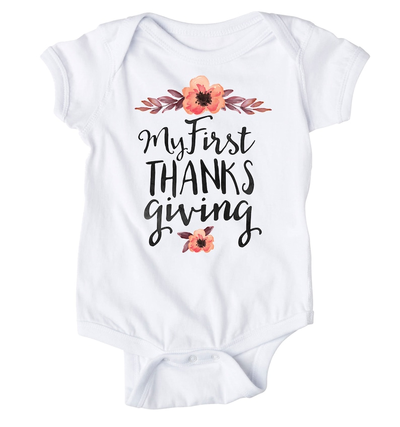Baby Thanksgiving, Girl Thanksgiving,fall Baby Gift Watercolor Thanksgiving shirt boho My first thanksgiving Baby Holiday flowers