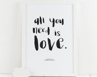Monochrome All You Need Is Love Giclée Print