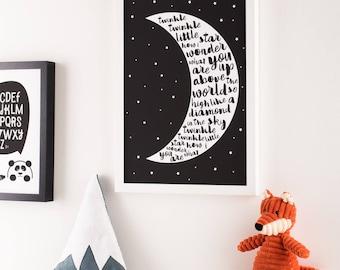 Monochrome Twinkle Twinkle Moon Giclée Print