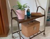 Vintage Mid Century Modern Rolling Cart Bar Cart Bookshelf TV Stand