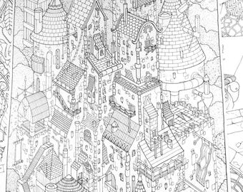 Bear Town Colouring Page