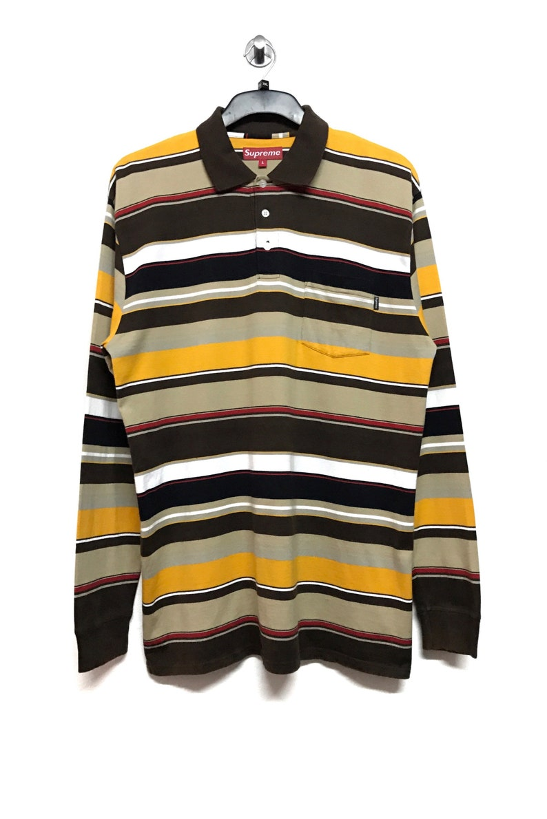 c3bc30595b6e Supreme Stripes Pocket L S Polo Shirt Size Large