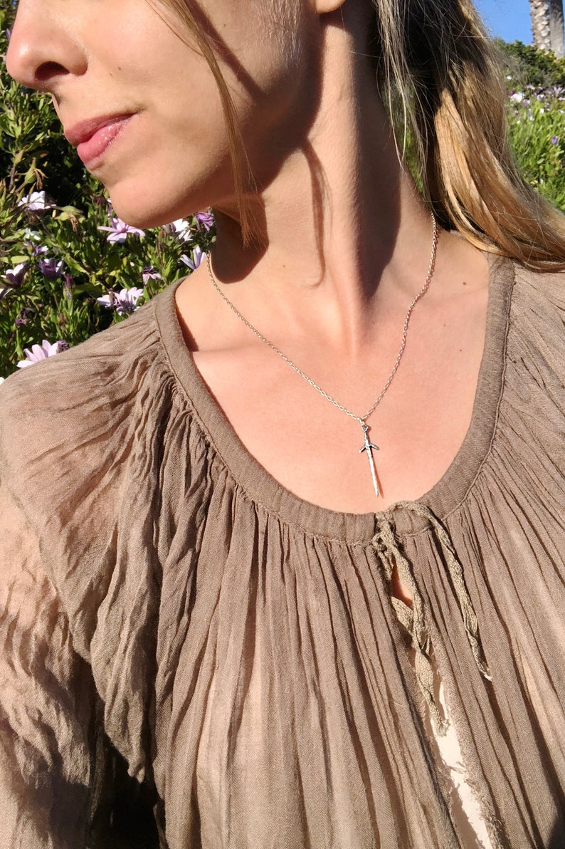 viking necklace witch necklace lunula dagger necklace wicca necklace mermaid necklace handmade sword necklace Silver Dagger Necklace