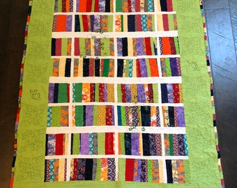 Handmade Multi-Color Throw Quilt, Quilt of Many Colors, Throw Quilt