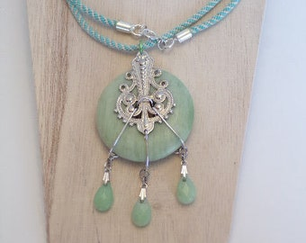 Green Aventurine Donut Pendant Necklace/ Green and White Cotton Cord Necklace with Aventurine Pendant/ Handmade Gift/ Unique Jewelry