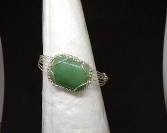 Aventurine Gemstone Cuff Bracelet/ Wire Wrapped Cuff Bracelet / Green Cuff Bracelet