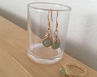 Green Aventurine Wire Wrapped Dangle Earrings
