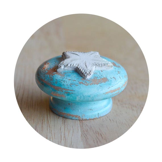 Rustic turquoise Drawer Knobs Beach Decor Knobs Knob with