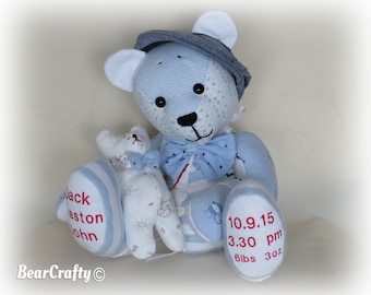 Birth weight keep sake bear made from baby's first clothing