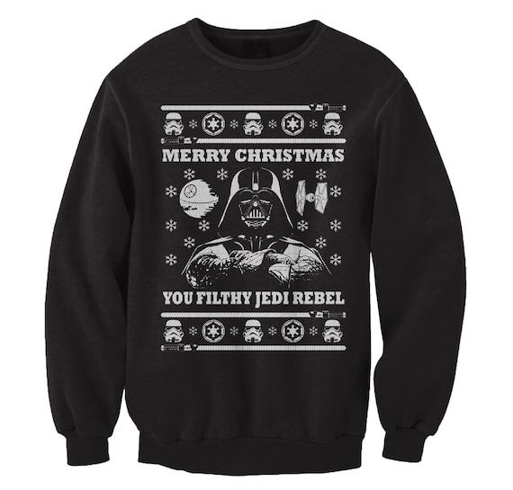 Frohe Weihnachten Philippinisch.Darth Vader Frohe Weihnachten Sie Schmutzige Jedi Rebel Hassliche Pullover Star Wars Dunkle Seite Lustige Parodie Xmas Crewneck Sweatshirt