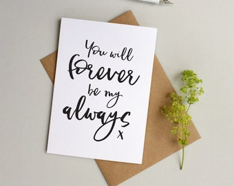 Forever always card - Valentine's card - Wedding card - Anniversary card - Husband card - Wife card - Girlfriend card - Boyfriend Card