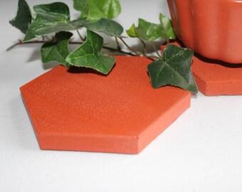 Vibrant Orange Hexagon Concrete Coaster