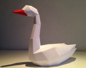 Low Poly Swan Model, 3D Papercraft Dolphin, DIY kit