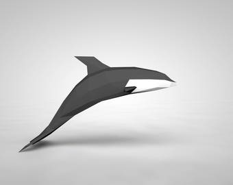 Low Poly Paper Dolphin Model, 3D Papercraft Dolphin, DIY kit, Paper Sculpture