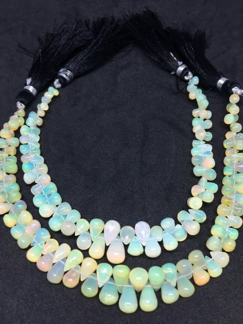 5.30-7mm On Sale Rare Ethiopian Opal Plain Drops Beads 8 Inches Strand