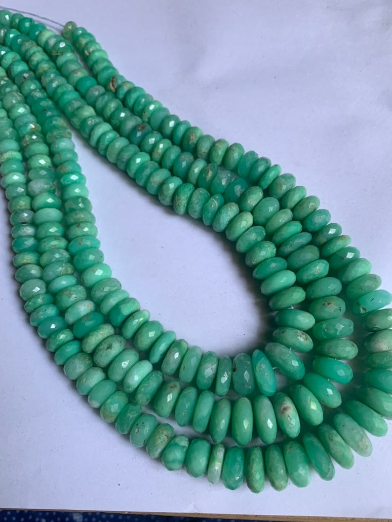 16 inches Beautiful finest quality chrysoprase rondelle faceted beads,7-14mm,chrysoprase beads