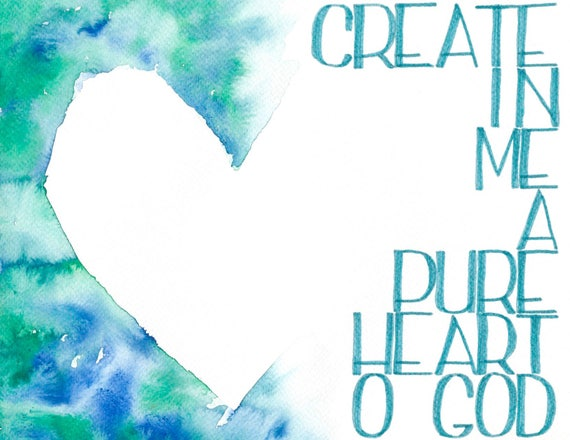 create a pure heart bible lettering hand lettering psalm etsy