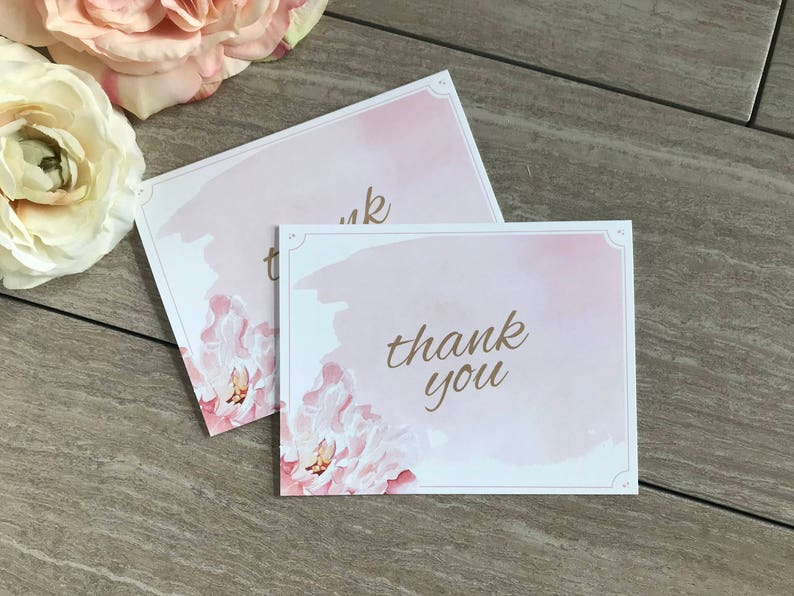 Blush Watercolor Floral Wedding Thank You Cards Southern Charm Pink Floral Watercolor Wedding Thank You Card