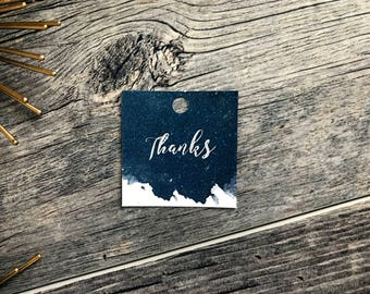 Starry Night Navy Blue Watercolor Texture Wedding Favor Tags | Navy Night Sky Watercolor Wedding Gift Tags