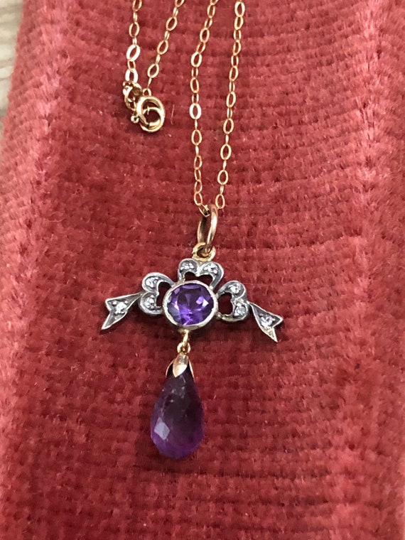 Stunning Edwardian 9ct  amethyst and diamond neckl