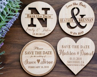 Rustic Save the Date, Wedding Invite, Wood Save the Date Magnets, Heart Magnets, Wooden Save the Date Magnets, Wedding Save the Date Magnets