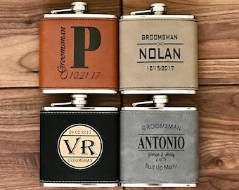 Personalized Flask, Groomsmen Flask, Boyfriend Gift, Engraved Black Leather Flask, Vegan, Groomsmen Gifts, Groomsman Flask, Groomsman Gift
