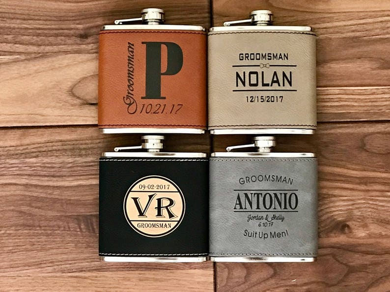 Customized Bachelor Party Flask Set Personalized Groomsman Leather Flask Gift Engraved 6 oz Hip Flask Wedding Party Favor Gift for Men