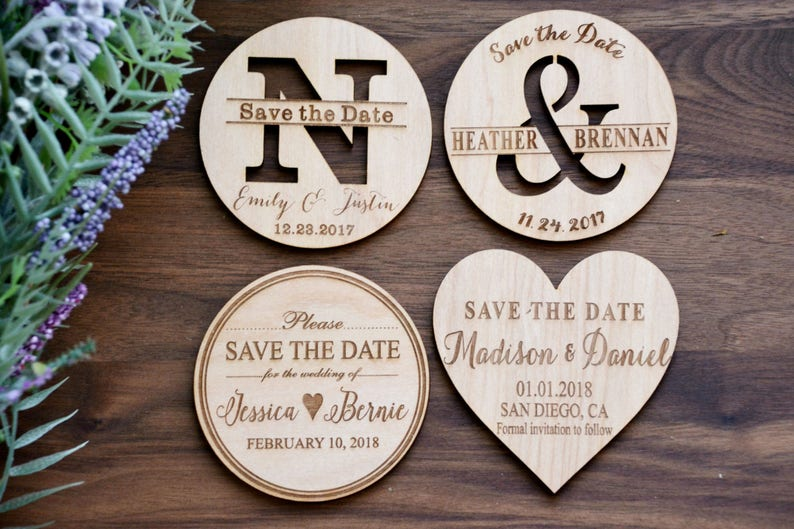 Wedding Invite Wood Save-the-Date Magnets Heart Magnets image 0