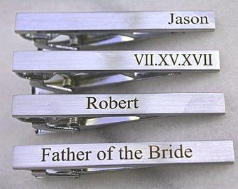Custom Wedding Tie Clip for Groom, Engraved Tie Clip, Fathers Day Gift, Best Man, Custom Groomsmen Tie Clip, Monogram Tie Bar Clip Silver