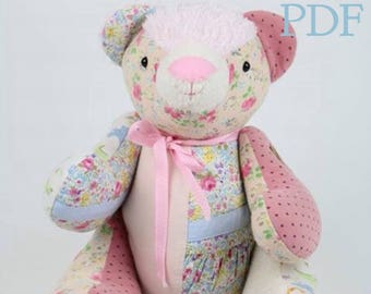 PDF Keepsake bear pattern and tutorial style instructions, PDF Memory bear pattern download, teddy bear pattern made from your clothes
