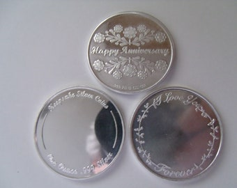 1oz .999 Silver  Free Engraving. Heart Coin Personalized Love//Friendship Coin