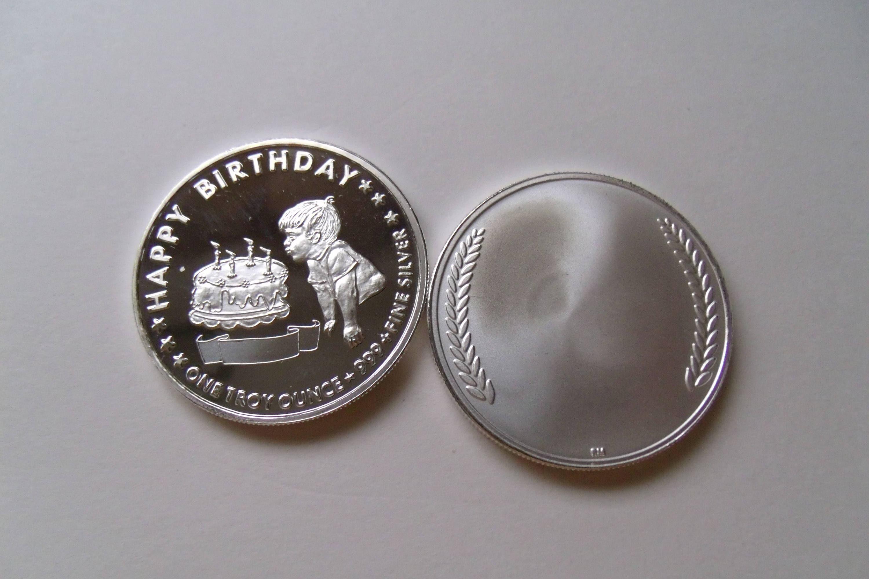 Fine 999 Silver 1 oz Engravable Happy Birthday Gift  Free Custom Engraving,  Custom Minted, Personalized, Keepsake Birthday Coin (Boy)