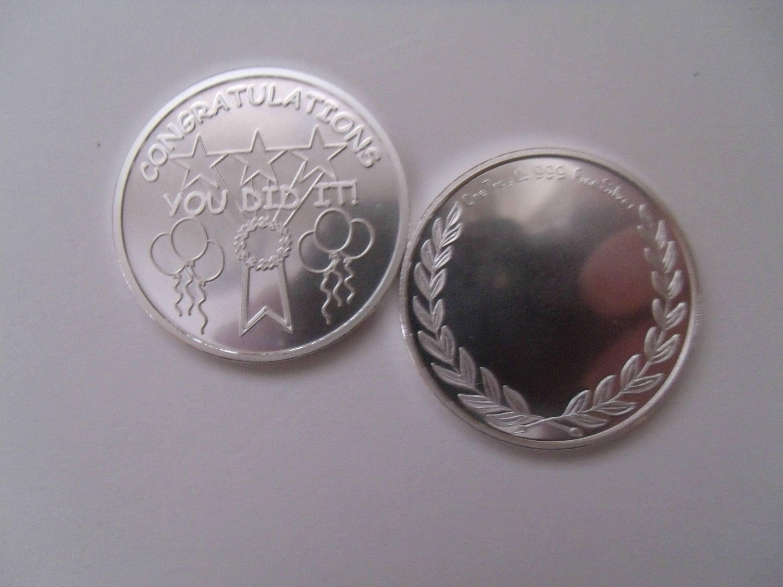 Fine  999 Silver 1 oz Engravable Congratulations Coin You