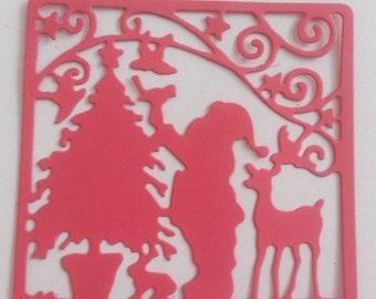 Christmas Die Cut Santa Claus Paper Die Cuts Scrapbook and Cards Making Supplies DIY Choose your color 8 pcs.
