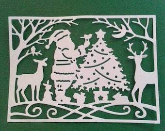 Santa Claus Paper Die Cuts. Christmas Cut Outs. 7 Pcs. Cards Making Supplies.