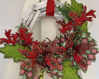 Red And Lime Poinsettia Small Driftwood Wreath